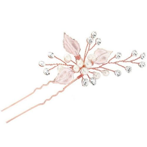 Blush pink pearl bridal hair pin, crystals